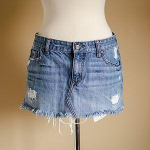 Abercrombie & Fitch Short Denim Frayed Skirt